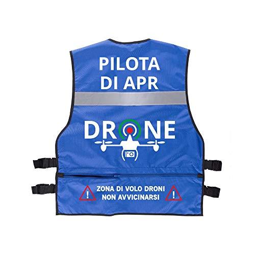 Fashion Graphic Gilet Multitasche Serie Professionale Pilota di Apr Drone Operatore Assistente Tecnico Video Sapr Alta visibilità Catarifrangente Sicurezza Conforme Enac (Blu Pilota di Apr)