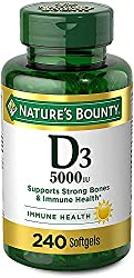 Vitamin D3 for Immune Support With High Feedback. Vitamin D Provides Immune Support and Promotes Healthy Bones. 125 mcg (5000iu), 240 Softgels