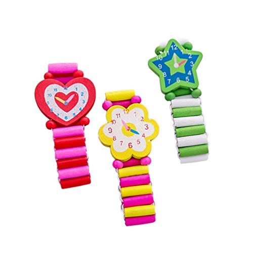 Hemobllo 3 Stücke Holz Armbanduhren Spielzeug Blume Herz Stern Marienkäfer Form Simulation Uhr Kinder Spielzeug (Zufälliges Muster)