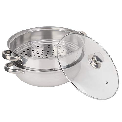 Dampfgarer Dampfeinsatz Dampfgarer Topf - Edelstahl Dampfgarer, Edelstahl 2-Lagen-Dampfer Pot Doppelsuppe Steaming Pot for Krabben-Fisch 27cm / 11in