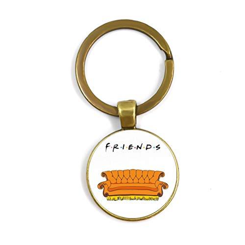 Accesorios colgantes Friends TV Show Llavero Serie de aniversario Dibujos animados Diversión Patrón de 25 mm Cabochon Cabochon Llavero de llavero para buen amigo Regalo para proyectos de cordón y cost