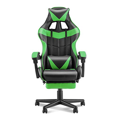 Soontrans Racing Style PC Computer Chair,Gaming Chair, E-Sports Chair,Ergonomic Office Chair with Height Adjustment,Retractable Footrest,Headrest and Lumbar Support(Jungle Green)