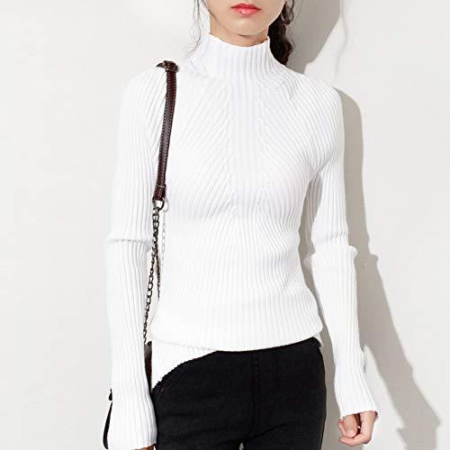 KKBHMPullover Herbstmode Frauen Damen Rollkragenpullover Weichen, Dünnen Pullover Femme Koreanisch Ziehen Engen, Lässigen Strick Rippenpullover Kleidung