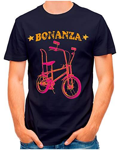 OM3® - Bonanza-I - T-Shirt | Herren | Vintage Kult Fahrrad 50 Jahre Jubiläum Bicycle | Navy, L