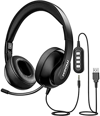Mpow PC Headset 224, Foldable Over-Ear Headset USB Headset/3.5mm Computer Headset with Retractable Microphone, Noise Cancelling Skype Headset for Mac PC Mobile Phone, Call Center, Online Conference from Mpow