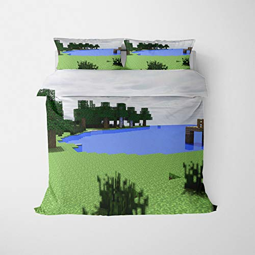 NICHIYO Minecraft Military Duvet Cover Bedding Set - Duvet Cover and Pillow Case, Microfibre, 3D Digital Print Three-Piece Bed Linen (Duvet Cover + Pillowcases) (13, Double 200 x 200 cm)