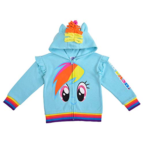 Children's Apparel Network, Lt My Little Pony Girl's Rainbow Dash Roleplay Hoodie with 3D Ears, Mane and Wings, Blue, Size 6