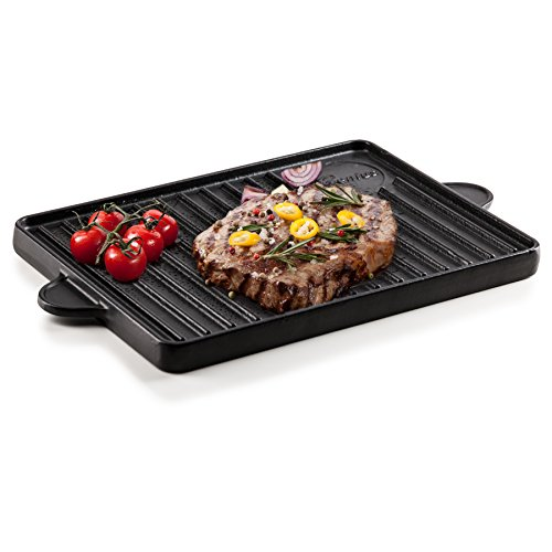 Genius BBQ Grill-Platte Wende-Grillplatte Plancha beidseitig nutzbar aus Gusseisen mit Antihaftbeschichtung für den Holzkohlegrill und Gasgrill