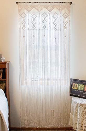 """Macrame Crochet Curtain-Bohemian/Boho Decoration-Wall Tapestry-Party Accent-Moroccan Backdrop-Weddings/Parties-Hanging Divider-Kitchen, Nursery, Room Decor-Fringe-100% Handmade/Woven 35""""Wx80""""L (White)"""