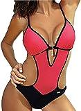JFAN Mujer Halter Trajes de Baño Una Pieza Bikini Push Up V-Cuello Monokini Traje de Baño de Cintura Baja Ropa de Playa Bikini Sets
