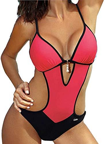 JFan Costumi da Bagno Interi Donna Trikini Costume da Mare Spiaggia Piscina Sexy Costume da Bagno Intero Donna con Push-up Imbottitura (Rosa Rossa, XXL)