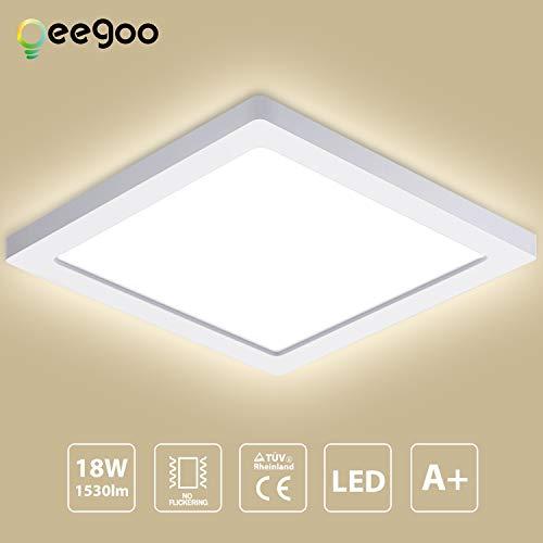 Oeegoo 18W 13mm Ultra magro LED Plafoniera Lampada da soffitto luce da incasso LED quadrata Illuminazione plafoniere 1530LM- Equivalente 100W tradizionale lampadina per Soggiorno corridoio cucina