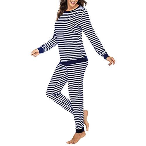 Ucoolcc Damen Stillschlafanzug Lange Ärmel Stilltops mit Stillfunktion Stillpyjama Hose mit Gestreifter Locker Elegant Shirt Baumwolle Umstandskleidung