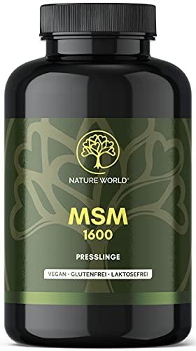 NEU! MSM 1600 NATURE WORLD® - 365 Presslinge á 800mg Methylsulfonylmethan - Laborgeprüft - 1600mg MSM pro Tagesdosis - Ohne Zusatzstoffe hochdosiert. Nicht mit anderen Stoffen unnötig kombiniert.