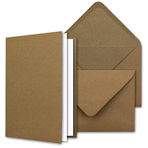 Vintage Kraftpapier-Karten Set mit Brief-Umschläge & Einlege-Blätter in Geschenkbox - 50 Sets - Blanko Recycling-Karten Natur-Braun - DIN A6 / C6
