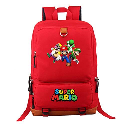 Mochila de Super Mario Bros, Bolsa de Libro para Estudiantes Bolsa de Viaje para Hombro para Computadora Portátil, Dibujos Animados Cosplay