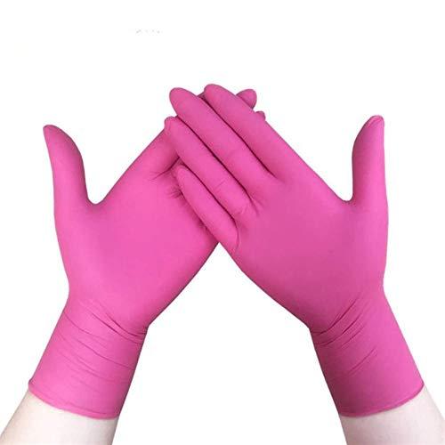 OLMME Guanti in nitrile, senza polvere, usa e getta per la pulizia della cucina o per la cura delle mani, 100 pezzi, rosa, 100 pezzi., Large