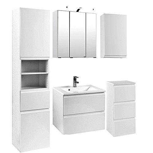 Badmöbel Set, 5-teilig Hochglanz weiß, 60cm Waschtisch, Badezimmer, Badezimmermöbel, LED Spiegelschrank