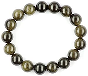 Obsidian Schmuck (Armband) Gold-Obsidian Armband Kugeln Größe ca. 12 mm Armband Größe ca. 19 cm Modellnummer 5196