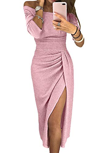 Glitter Cocktail Party Midi Dress Wedding Prom for Ladies Fall Fashion Off Shoulder 3/4 Sleeve Ruched Slit Sexy Bodycon Dress Pink S