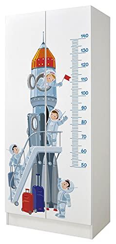 leomark Bianco Armadio Funzionale in Legno - Roma - Armadio, mobiletto per Bambini, Stile scandinavo, Dim: 70 x 42,5 x 161,5 (Altezza) cm (Eazzo Spaziale)