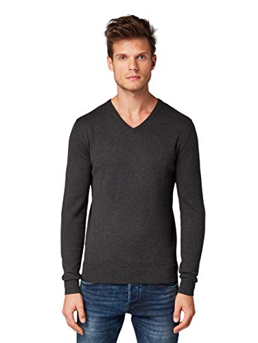 TOM TAILOR Herren Pullover & Strickjacken Schlichter Strickpullover Black Grey Melange,L
