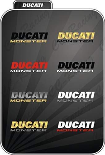 2 Adhesivos Ducati Monster Depósito Incluso Bicolor - Color Ducati Blanco, Colore Monster Rosso