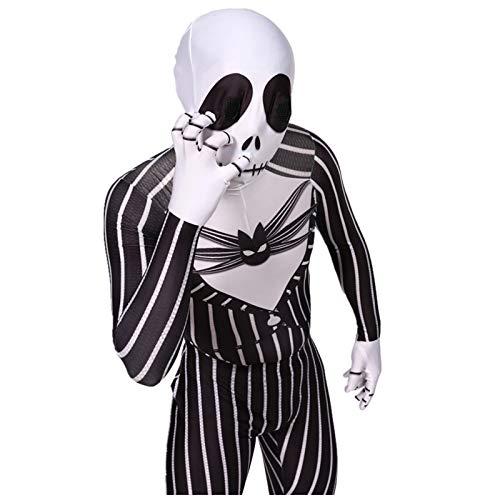 AUkaiqu12 The Nightmare Before Christmas Disfraz, Disfraz de Jack Skellington Mono de Cosplay De Halloween Traje de Juego de Rol de Terror Disfraz de Cosplay de Halloween para Hombres