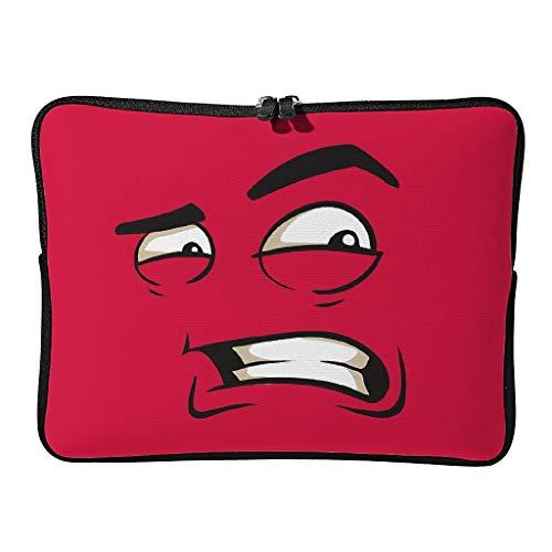Bolsa para portátil con cara roja normal, moderna, multifuncional, expresión divertida, adecuada para viajes de negocios.