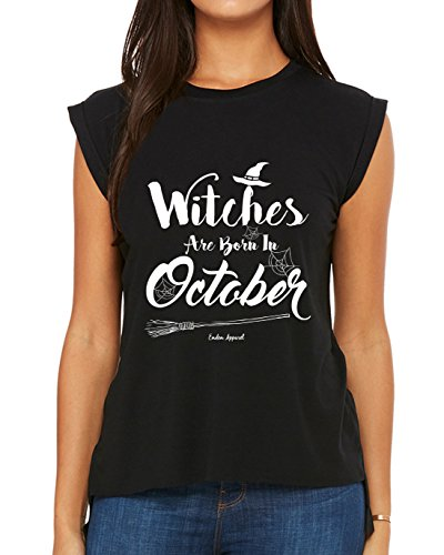 Camiseta Emdem Apparel Witches are Born in October Halloween Birthday, Preto, Medium