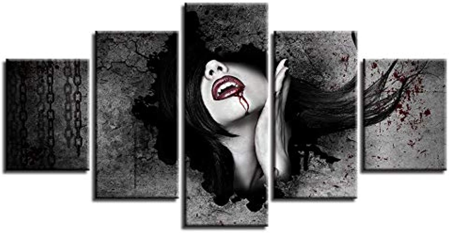 Modern Painting Frame Art Print Poster Wall Modular Picture 5 Panel Female Character Home Decor Canvas for Living Room