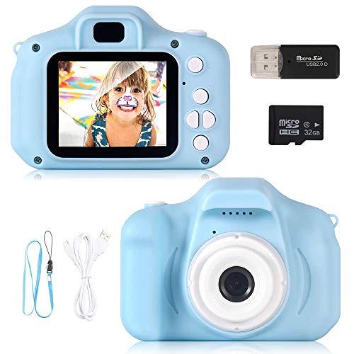 ZStarlite Cámara Digital para Niños, 1080P 2.0 'HD Selfie Video Cámara Infantil, Regalos Ideales para Niños Niñas de 3-10 Años, con Tarjeta TF 32 GB, Lector de Tarjetas (Azul)
