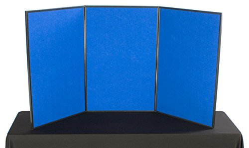 Tri Fold 3-Panel Display Board, 72 x 36, with Blue Hook & Loop-Receptive Fabric and Write-on Whiteboard