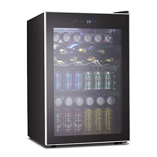 Kismile 4.5 Cu.ft Beverage Refrigerator and Cooler,126 Can Mini Fridge with Digital Temperature Display for Soda,Beer or Wine,small Drink Dispenser Cooler for Home,Office or Bar (Transparent)