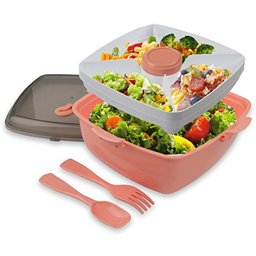 Salad Lunch Container - Toursion Large 51-oz Salad Bowl with Removable 4-Compartment Bento-Style Tray, 2-oz Sauce Container for Dressings, Microwaveable, BPA-Free, and Built-in Reusable Fork Spoon