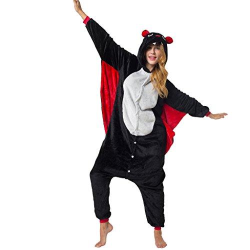 Katara 1744 -Fledermaus Kostüm-Anzug Onesie/Jumpsuit Einteiler Body für Erwachsene Damen Herren als Pyjama oder Schlafanzug Unisex - viele Verschiedene Tiere