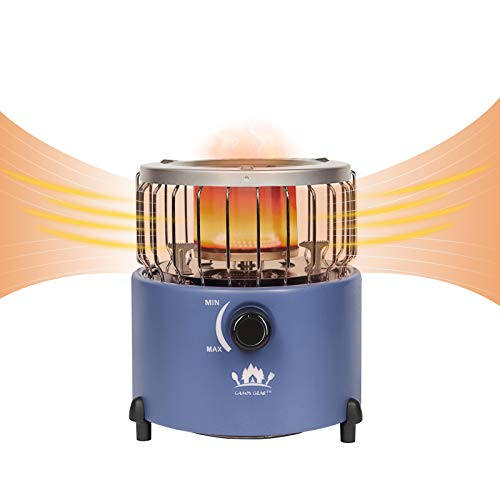 Campy Gear 2 in 1 Portable Propane Heater & Stove, Outdoor Camping Gas Stove Camp Tent Heater for Ice Fishing Backpacking Hiking Hunting Survival Emergency (Navy Blue, CG-2000G)