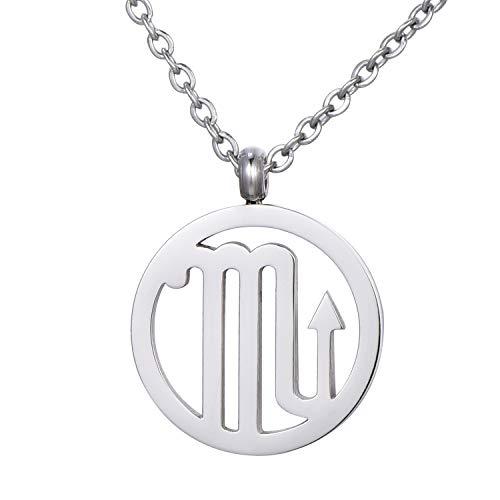 Morella Collar Acero Inoxidable Plata con Colgante Signo del Zodiaco Escorpio en Bolsa de Terciopelo