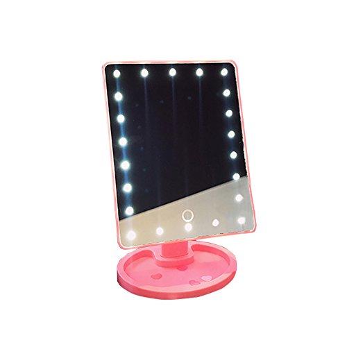 Espejo De Vanidad Iluminado, 22 LED Luces Pantalla Táctil Pantalla Iluminada Espejo De Mesa De Maquillaje, Rosa