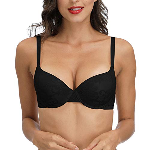 40B Push Up Padded Lace Bra Demi Cup Support Add 2 Size Everyday T-Shirt Plunge Black