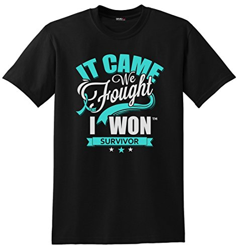 It Came. We Fought. I Won. Ovarian and Cervical Cancer Survivor Unisex T-Shirt - Black w/Teal [XL]