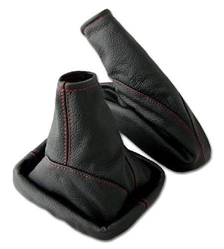 L&P A099-8 Kit Soufflet Sac Manchette manchon de commutation 100% cuir véritable veritable noir noire couture fil rouge et frein à a main stationnement parking transmission manuelle boîte boite vitesse vitesses changement vitesse rouge