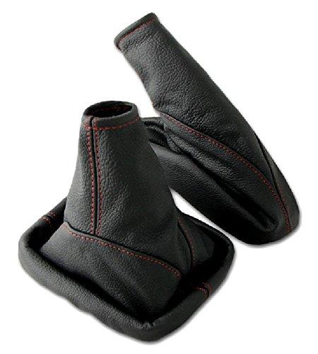 L & P Car Design L&P A099-8 Set Schaltsack Schaltmanschette + Handbremsmanschette 100% Echtleder Leder Schwarz Naht Rot Ersatzteil für Opel Astra G