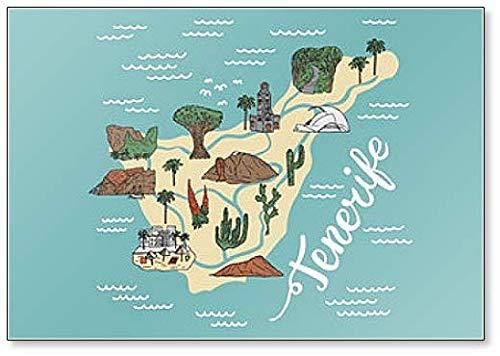 Imán para nevera con mapa detallado de Tenerife con lugares, lugares de interés y lugares de interés