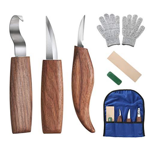 Fnova 6-in-1 Holz-Schnitzwerkzeug Set, Walnuss Schnitzhakenmesser, Schnitzmesser, Spanschnitzmesser, Poliermittel und schnittfeste Handschuhe für Anfänger und Profis