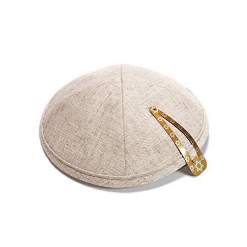 Elegante lino de blanco Kippah Yarmulke judío Yamaka Kippa Israel Cap Judaica con clip