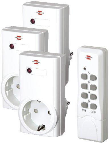 Brennenstuhl Funkschalt-Set RCS 1000 N Comfort, 3er Funksteckdosen Set (mit Handsender und erhöhtem Berührungsschutz) weiß