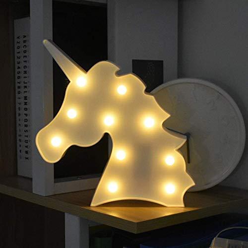 LED Unicornio Luces Nocturnas, LED Mood Light Lámparas de Escritorio, Blanca Cálida LED Lámpara de Mesa para Habitación de Bebé Decorativa Luz, Dormitorio y Decoración de la Pared (Unicornio Blanco)