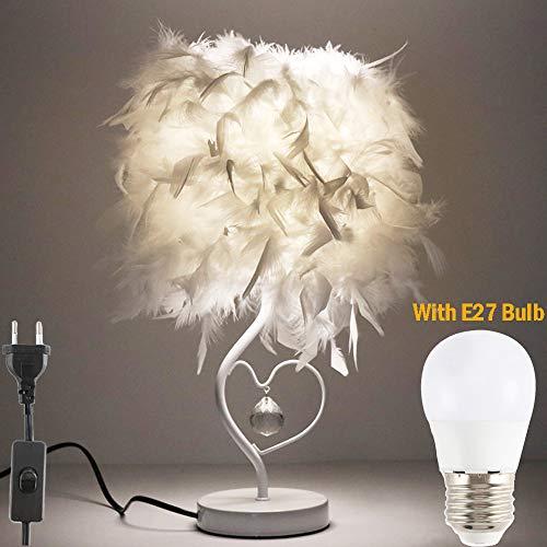 ALLOMN LED Nachttischlampe, moderne minimalistische Lampe Vintage elegante Nachttischlampe Feder Tischlampe, Schaltersteuerung, Herzform Kristallanhänger, mit E27 Birne (kaltweiß), EU Stecker