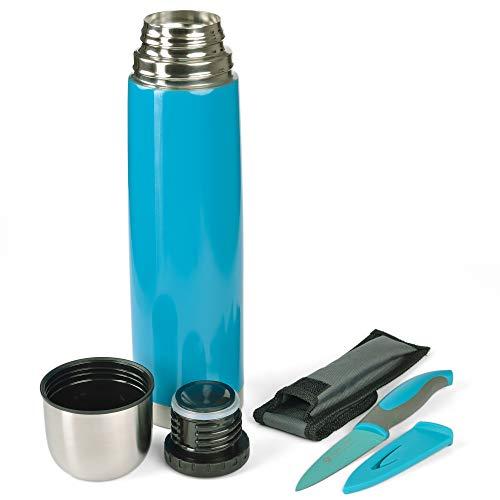 GRÄWE Thermoflasche mit Allzweckmesser, Outdoor, Set, 1L Vakuum-Isolierte Isolierflasche mit Drehverschluss inkl. farblich passendem Messer - Türkis